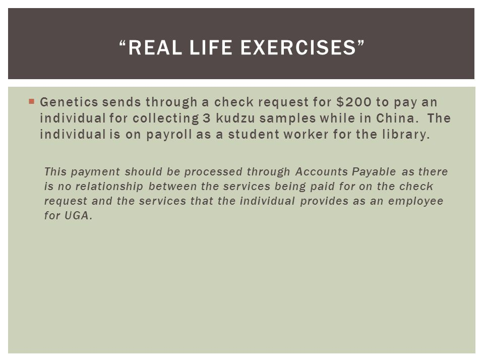  Genetics sends through a check request for $200 to pay an individual for collecting 3 kudzu samples while in China. The individual is on payroll as