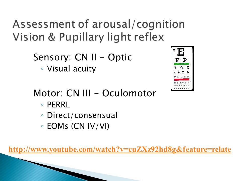 Sensory: CN II - Optic ◦ Visual acuity Motor: CN III - Oculomotor ◦ PERRL ◦ Direct/consensual ◦ EOMs (CN IV/VI) http://www.youtube.com/watch?v=cuZXz92