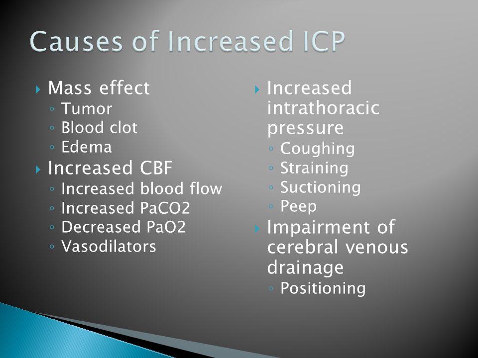  Mass effect ◦ Tumor ◦ Blood clot ◦ Edema  Increased CBF ◦ Increased blood flow ◦ Increased PaCO2 ◦ Decreased PaO2 ◦ Vasodilators  Increased intrat