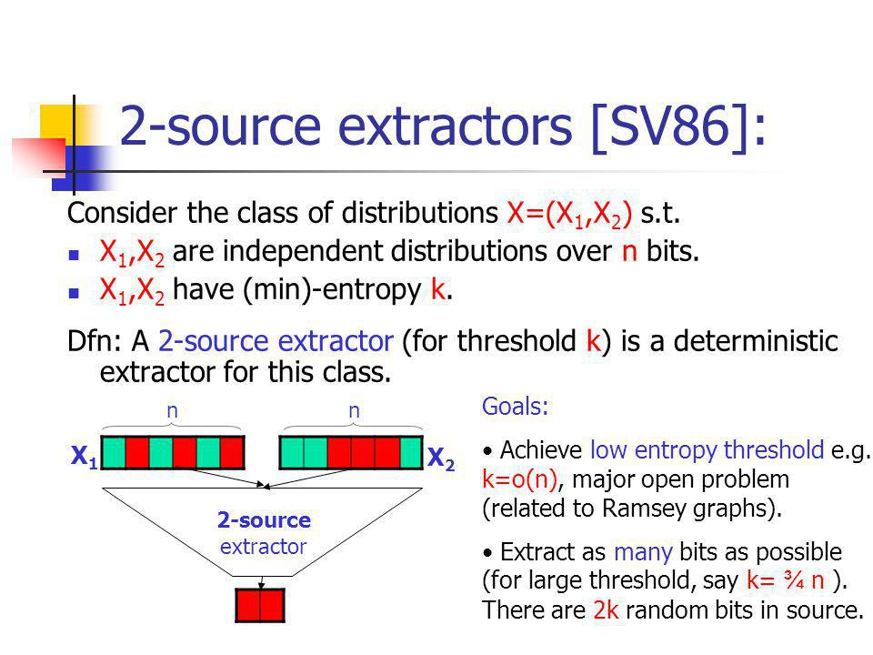 2-source extractors [SV86]: Consider the class of distributions X=(X 1,X 2 ) s.t.