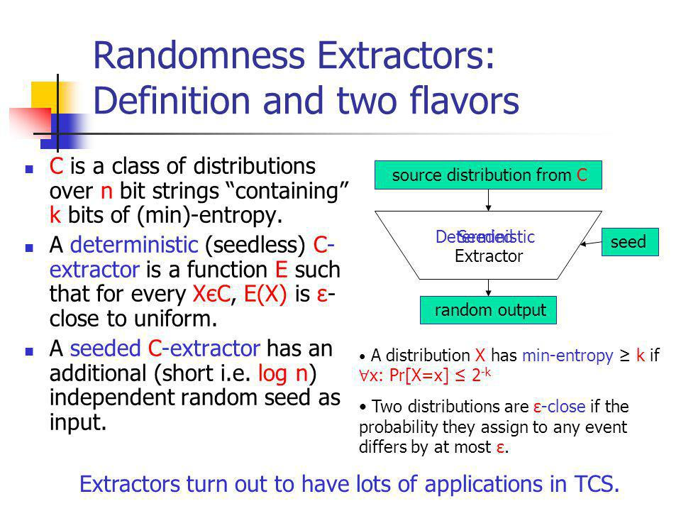 Seeded Randomness Extractors: Definition and two flavors C is a class of distributions over n bit strings containing k bits of (min)-entropy.