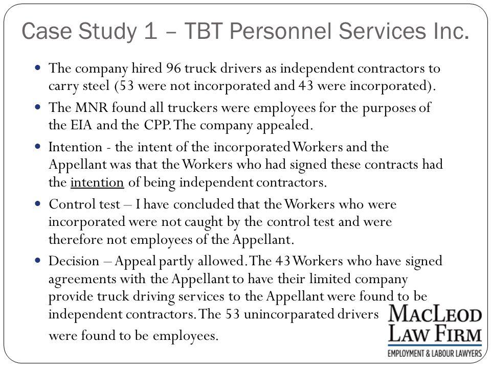 Case Study 1 – TBT Personnel Services Inc.