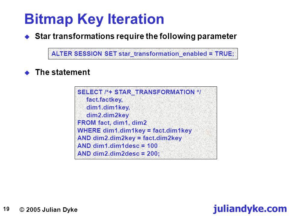 © 2005 Julian Dyke juliandyke.com 19 Bitmap Key Iteration  Star transformations require the following parameter SELECT /*+ STAR_TRANSFORMATION */ fac