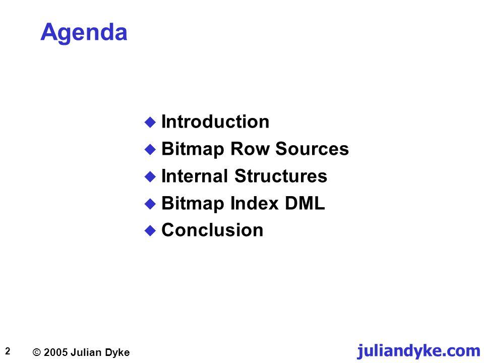 juliandyke.com 2 Agenda  Introduction  Bitmap Row Sources  Internal Structures  Bitmap Index DML  Conclusion