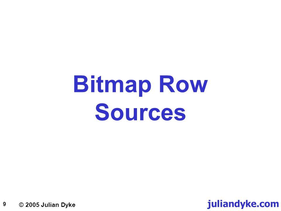 © 2005 Julian Dyke juliandyke.com 9 Bitmap Row Sources