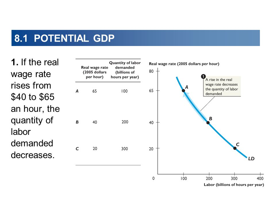 8.1 POTENTIAL GDP 1. If the real wage rate rises from $40 to $65 an hour, the quantity of labor demanded decreases.