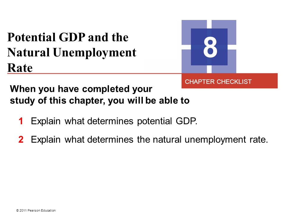 © 2011 Pearson Education Potential GDP and the Natural Unemployment Rate 8 When you have completed your study of this chapter, you will be able to 1 E