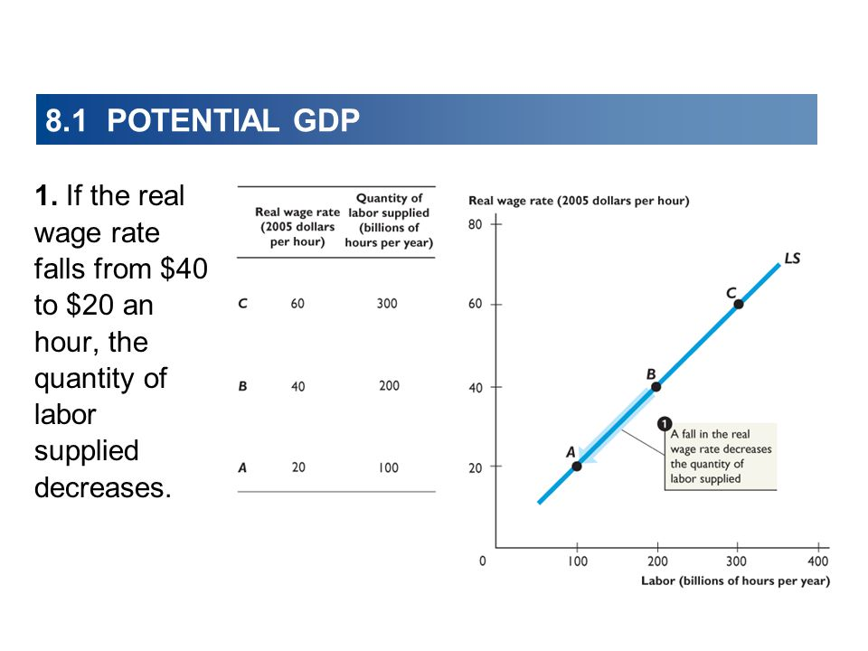 8.1 POTENTIAL GDP 1. If the real wage rate falls from $40 to $20 an hour, the quantity of labor supplied decreases.