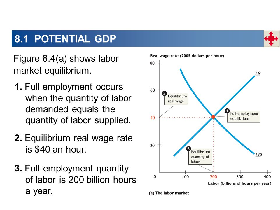 8.1 POTENTIAL GDP Figure 8.4(a) shows labor market equilibrium. 1. Full employment occurs when the quantity of labor demanded equals the quantity of l