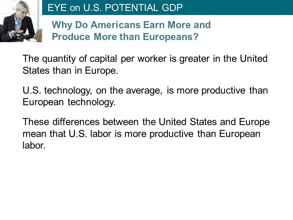 The quantity of capital per worker is greater in the United States than in Europe. U.S. technology, on the average, is more productive than European t