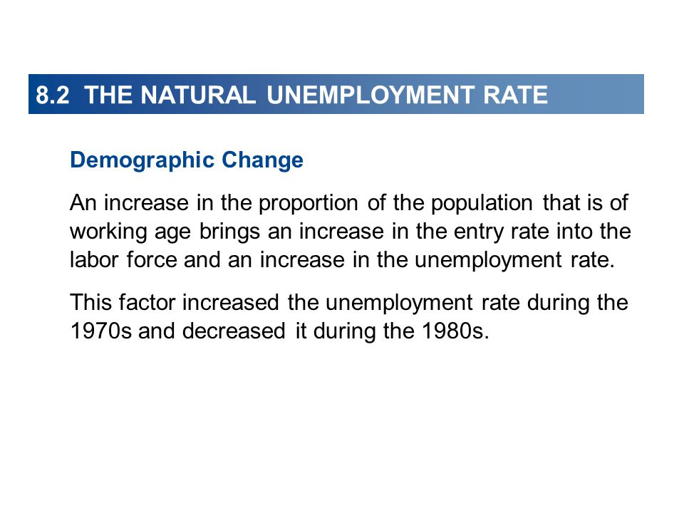 8.2 THE NATURAL UNEMPLOYMENT RATE Demographic Change An increase in the proportion of the population that is of working age brings an increase in the