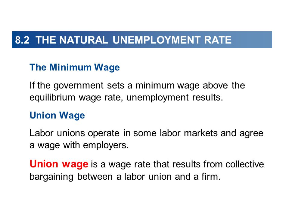 8.2 THE NATURAL UNEMPLOYMENT RATE The Minimum Wage If the government sets a minimum wage above the equilibrium wage rate, unemployment results. Union