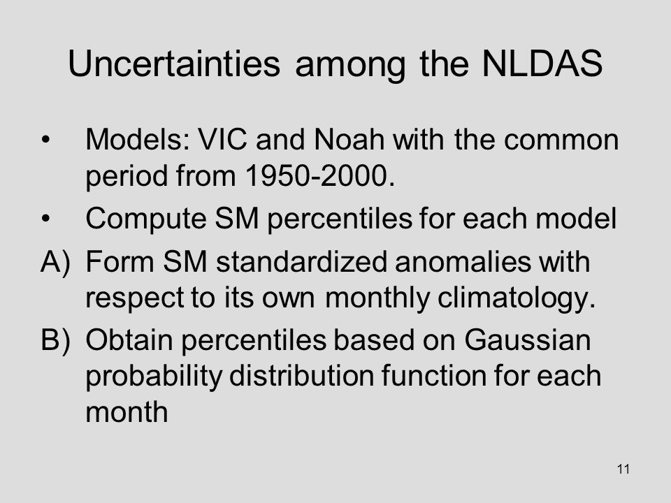 11 Uncertainties among the NLDAS Models: VIC and Noah with the common period from