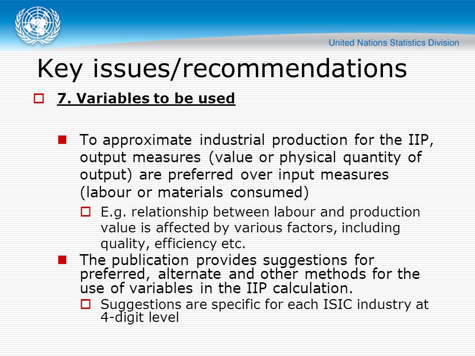 Key issues/recommendations  7.