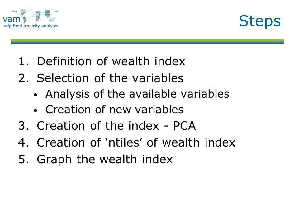 Steps 1.Definition of wealth index 2.Selection of the variables Analysis of the available variables Creation of new variables 3.Creation of the index