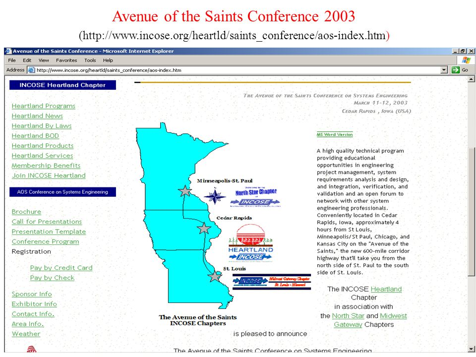 3 Avenue of the Saints Conference 2003 (http://www.incose.org/heartld/saints_conference/aos-index.htm)