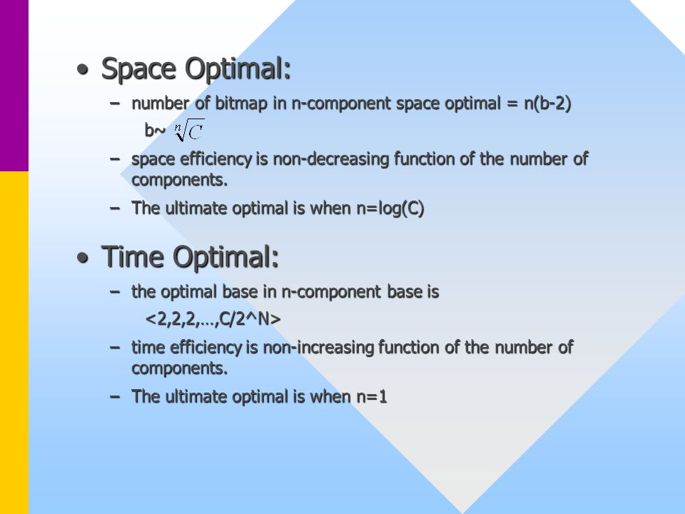 Space Optimal:Space Optimal: –number of bitmap in n-component space optimal = n(b-2) b~ –space efficiency is non-decreasing function of the number of components.
