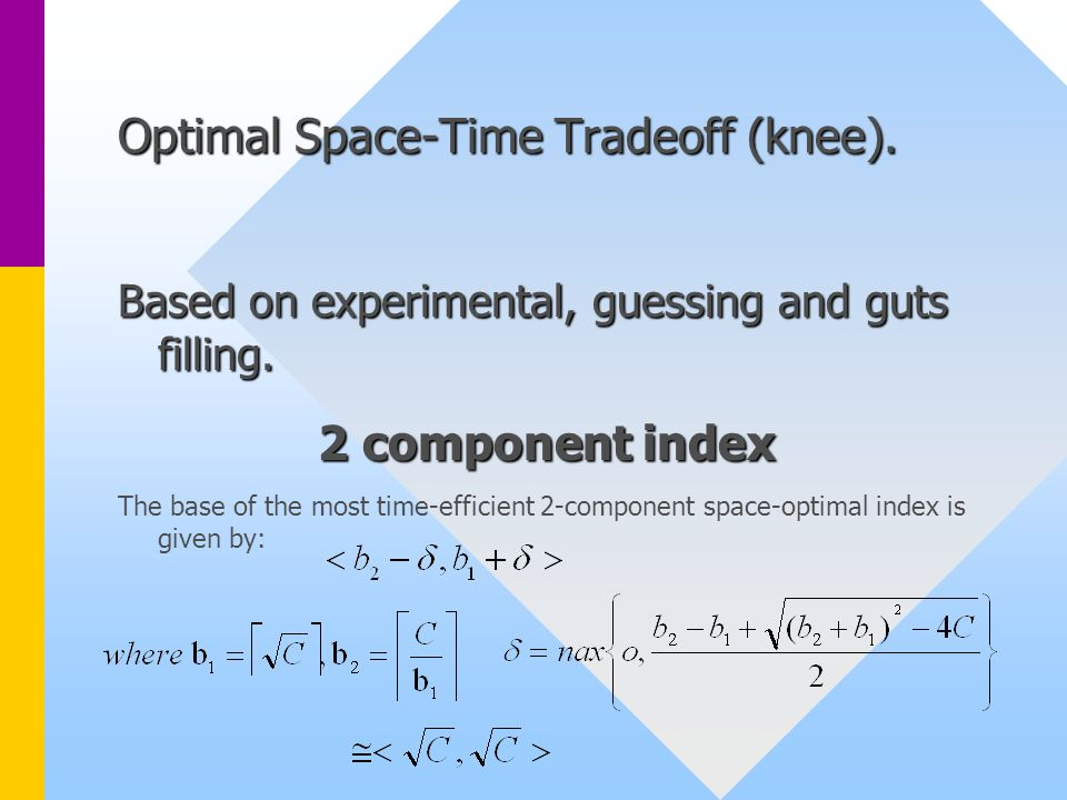 Optimal Space-Time Tradeoff (knee). Based on experimental, guessing and guts filling.