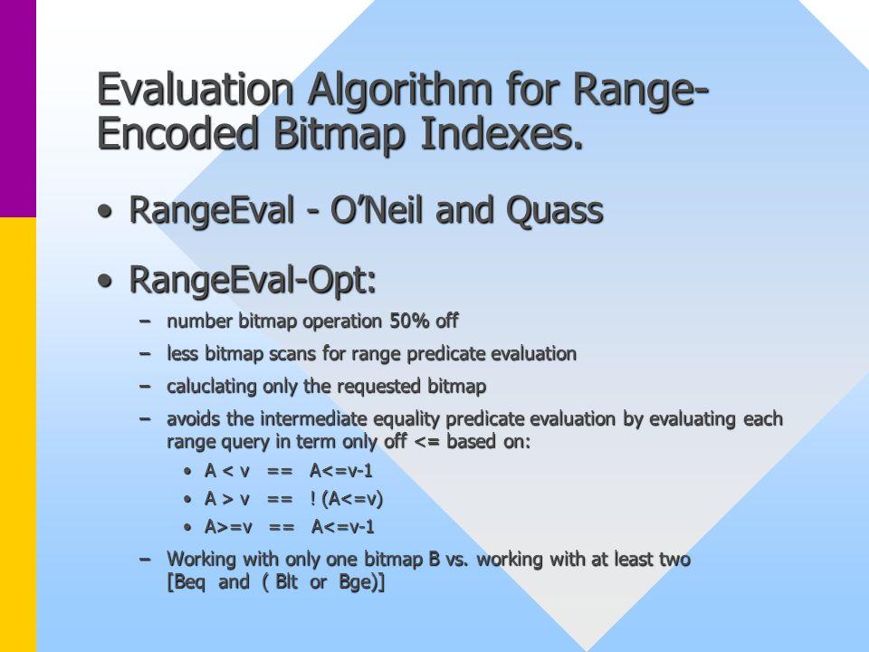 Evaluation Algorithm for Range- Encoded Bitmap Indexes. RangeEval - O'Neil and QuassRangeEval - O'Neil and Quass RangeEval-Opt:RangeEval-Opt: –number