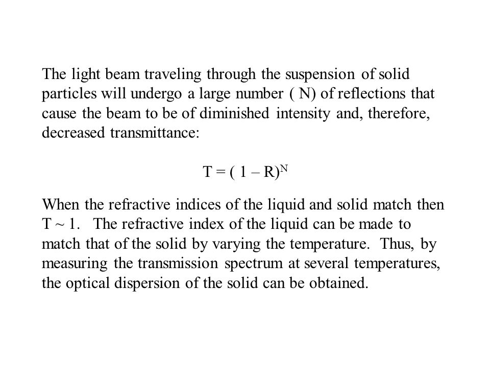 The light beam traveling through the suspension of solid particles will undergo a large number ( N) of reflections that cause the beam to be of diminished intensity and, therefore, decreased transmittance: T = ( 1 – R) N When the refractive indices of the liquid and solid match then T ~ 1.