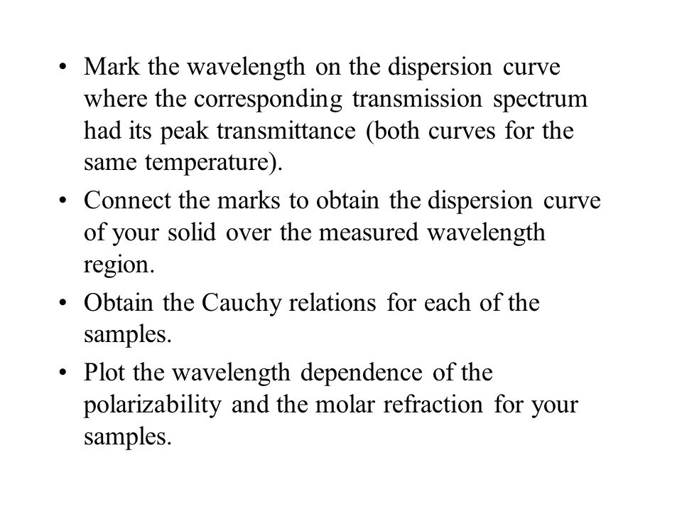 Mark the wavelength on the dispersion curve where the corresponding transmission spectrum had its peak transmittance (both curves for the same temperature).