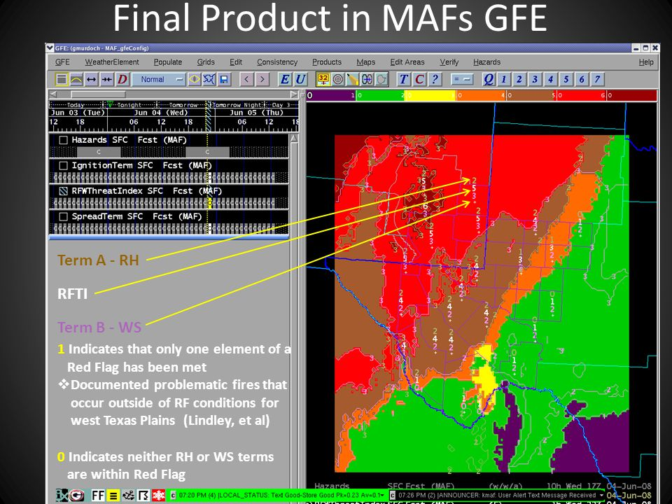 Final Product in MAFs GFE Term A - RH RFTI Term B - WS 1 Indicates that only one element of a Red Flag has been met  Documented problematic fires that occur outside of RF conditions for west Texas Plains (Lindley, et al) 0 Indicates neither RH or WS terms are within Red Flag