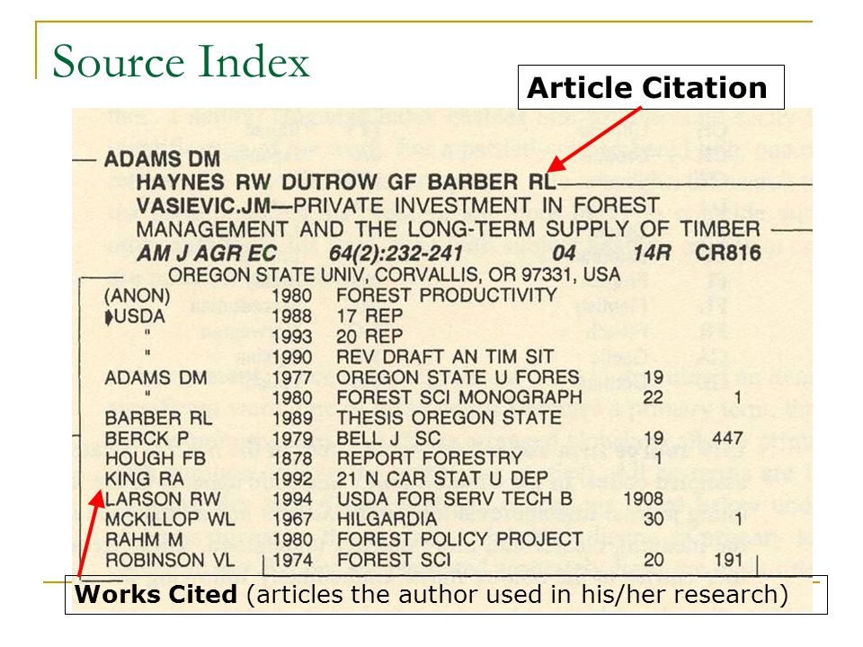 Source Index Article Citation Works Cited (articles the author used in his/her research)