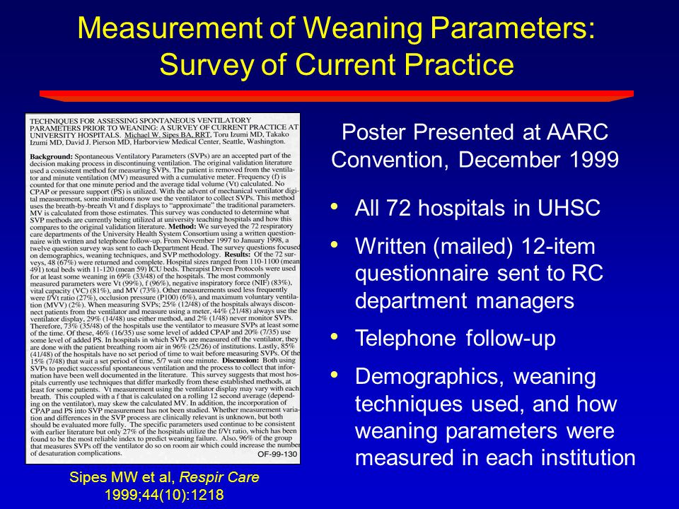 Measurement of Weaning Parameters: Survey of Current Practice All 72 hospitals in UHSC Written (mailed) 12-item questionnaire sent to RC department ma