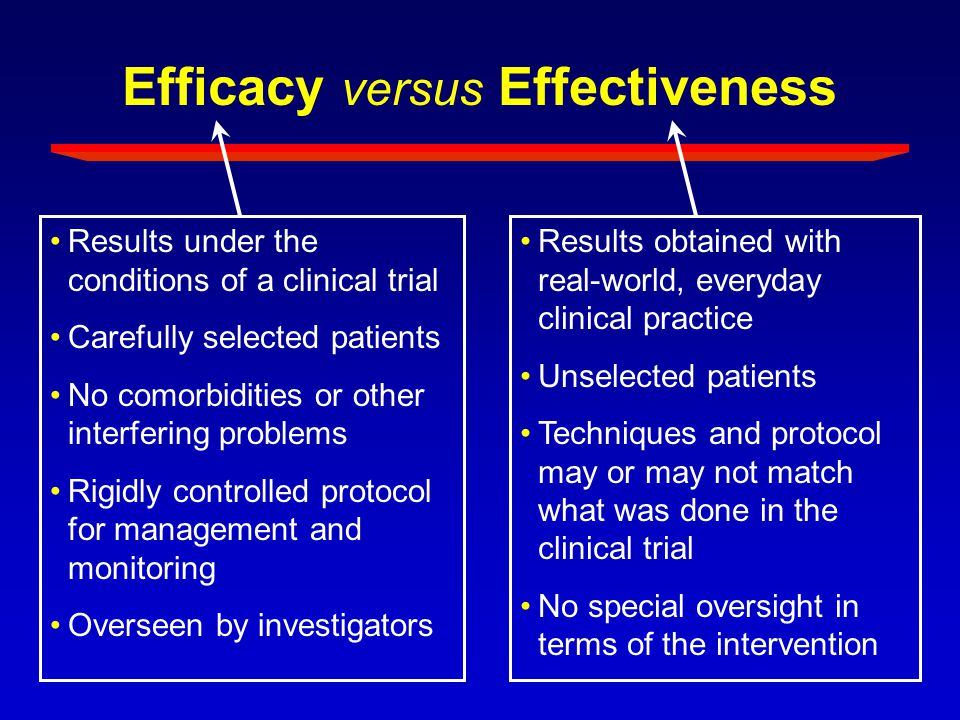 Efficacy versus Effectiveness Results under the conditions of a clinical trial Carefully selected patients No comorbidities or other interfering probl