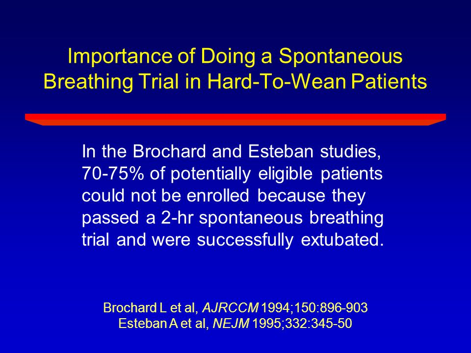 Importance of Doing a Spontaneous Breathing Trial in Hard-To-Wean Patients In the Brochard and Esteban studies, 70-75% of potentially eligible patient