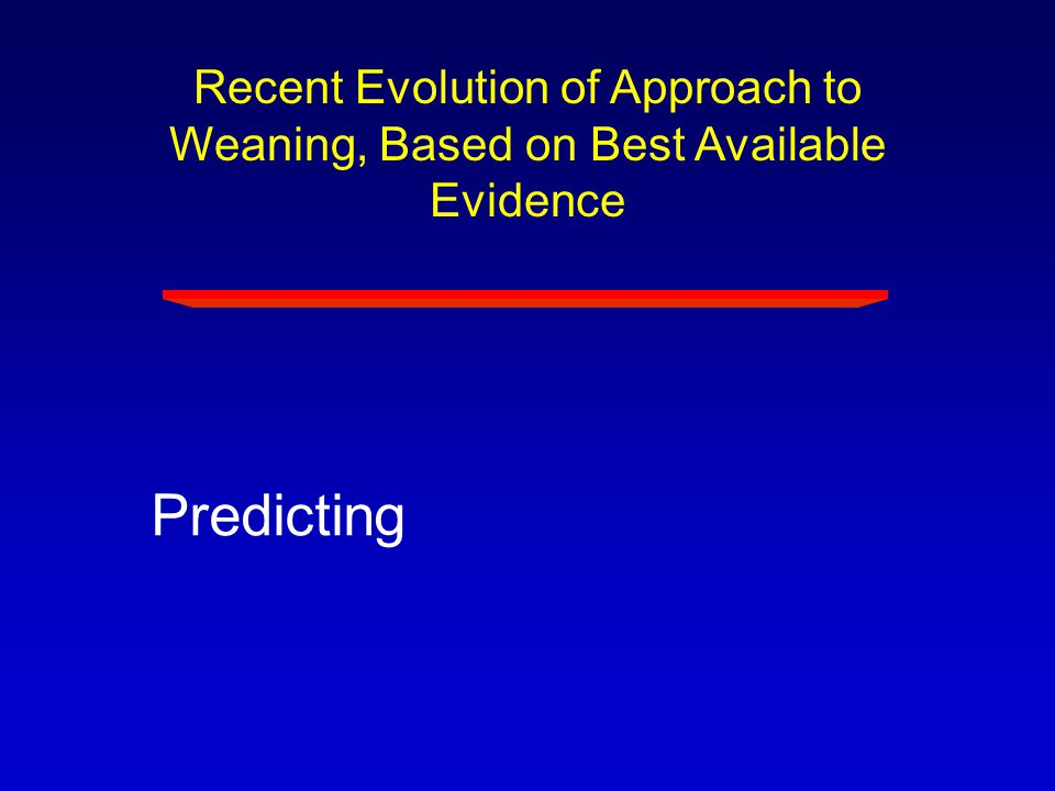 Recent Evolution of Approach to Weaning, Based on Best Available Evidence Predicting