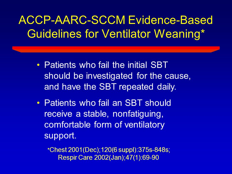 ACCP-AARC-SCCM Evidence-Based Guidelines for Ventilator Weaning* * Chest 2001(Dec);120(6 suppl):375s-848s; Respir Care 2002(Jan);47(1):69-90 Patients