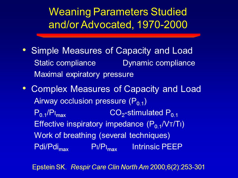 Weaning Parameters Studied and/or Advocated, 1970-2000 Simple Measures of Capacity and Load Static compliance Dynamic compliance Maximal expiratory pr