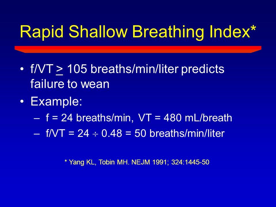 Rapid Shallow Breathing Index* f/VT > 105 breaths/min/liter predicts failure to wean Example: –f = 24 breaths/min, VT = 480 mL/breath –f/VT = 24  0.4