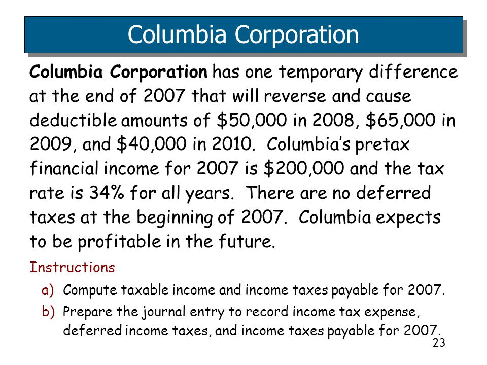 23 Columbia Corporation has one temporary difference at the end of 2007 that will reverse and cause deductible amounts of $50,000 in 2008, $65,000 in 2009, and $40,000 in 2010.