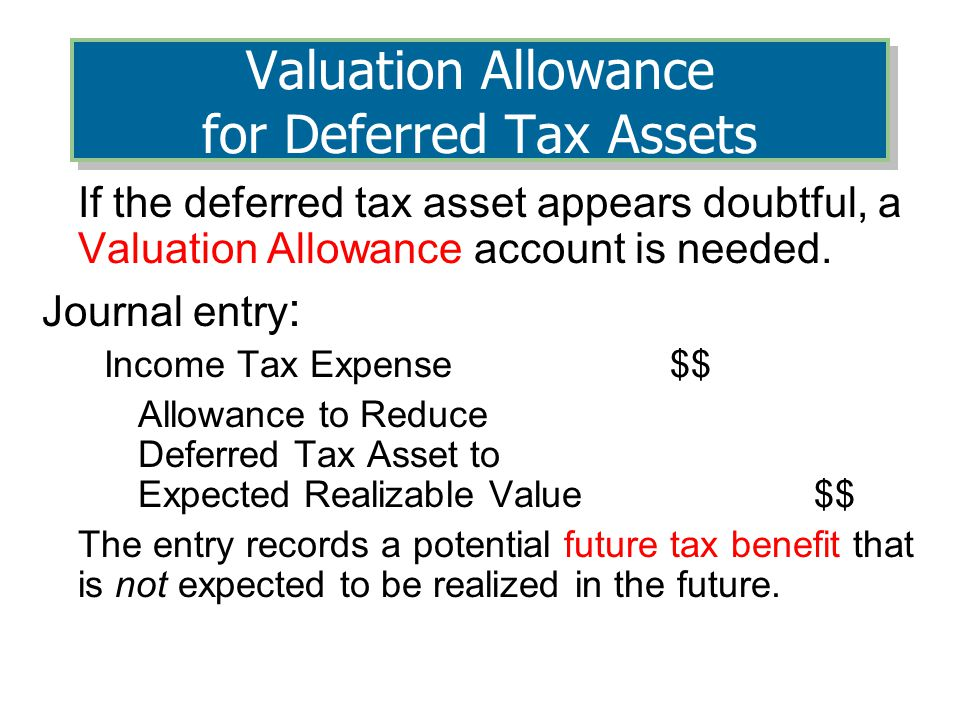 If the deferred tax asset appears doubtful, a Valuation Allowance account is needed.