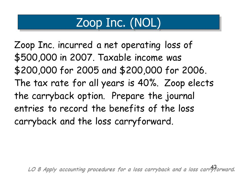 42 Zoop Inc.incurred a net operating loss of $500,000 in 2007.