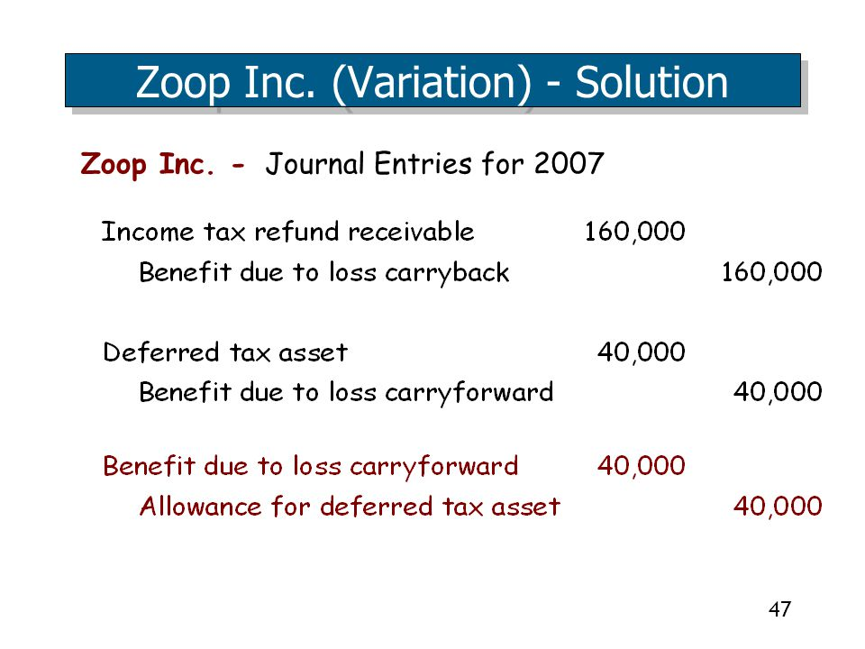 47 Zoop Inc. - Journal Entries for 2007 Zoop Inc. (Variation) - Solution