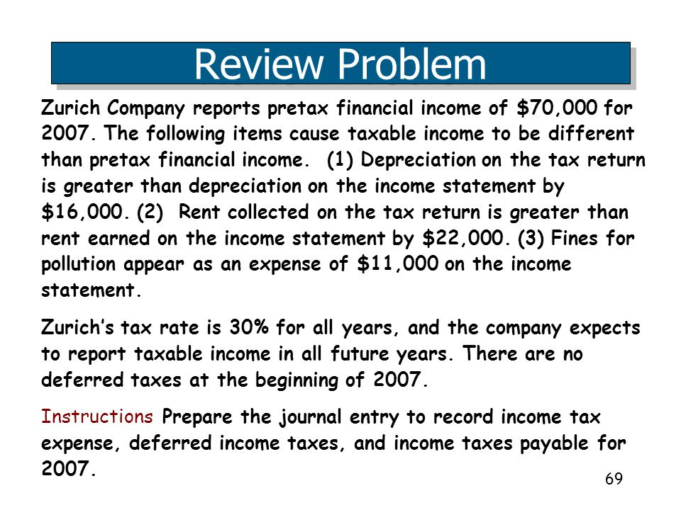69 Zurich Company reports pretax financial income of $70,000 for 2007. The following items cause taxable income to be different than pretax financial