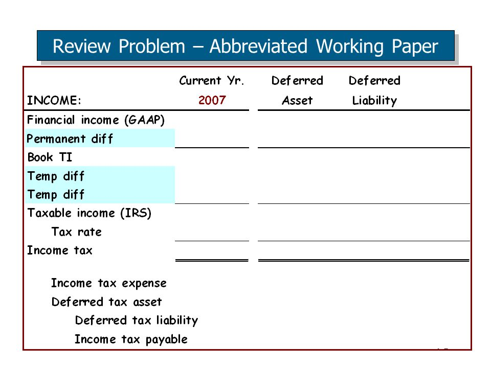 70 Review Problem – Abbreviated Working Paper