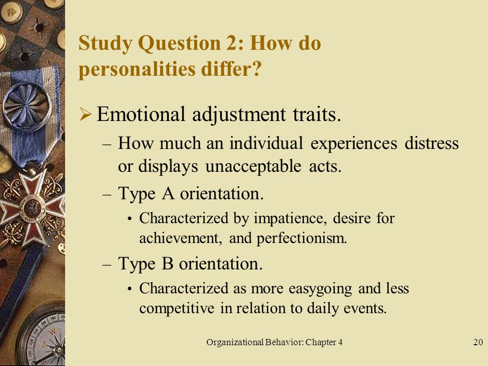 Organizational Behavior: Chapter 420 Study Question 2: How do personalities differ?  Emotional adjustment traits. – How much an individual experience