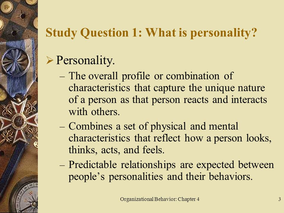 Organizational Behavior: Chapter 43 Study Question 1: What is personality?  Personality. – The overall profile or combination of characteristics that