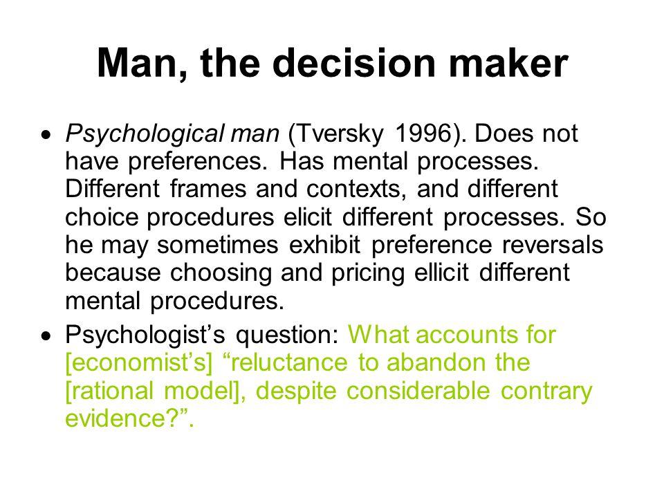 Man, the decision maker  Psychological man (Tversky 1996).