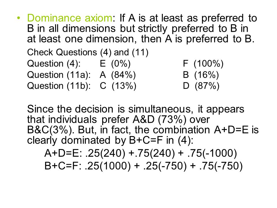 Dominance axiom: If A is at least as preferred to B in all dimensions but strictly preferred to B in at least one dimension, then A is preferred to B.