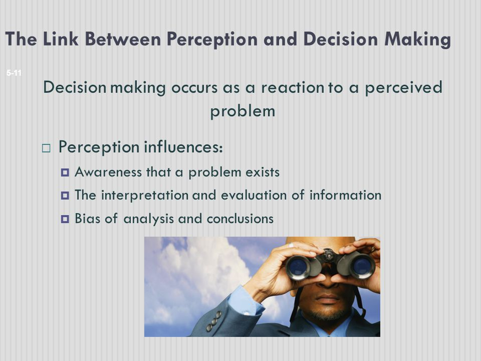 The Link Between Perception and Decision Making 5-11 Decision making occurs as a reaction to a perceived problem  Perception influences:  Awareness