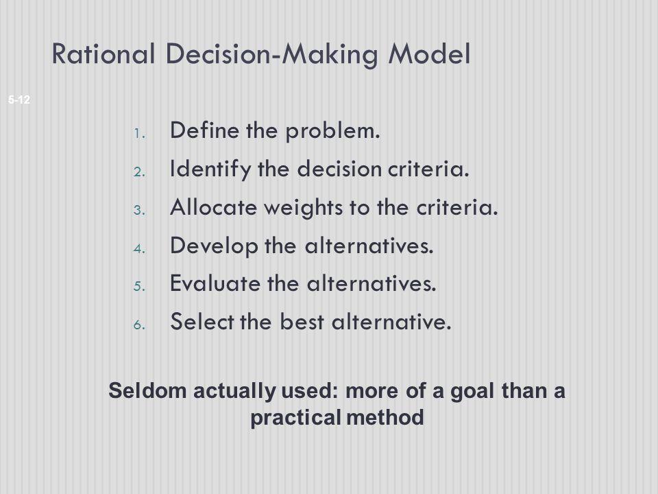 Rational Decision-Making Model 5-12 1.Define the problem.