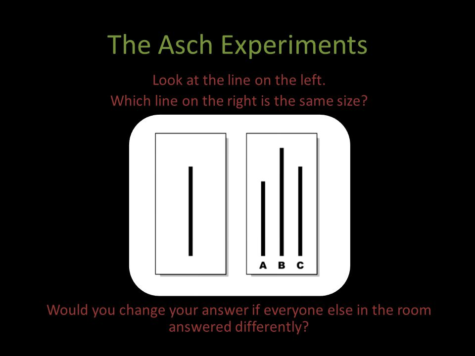 The Asch Experiments Look at the line on the left. Which line on the right is the same size? Would you change your answer if everyone else in the room