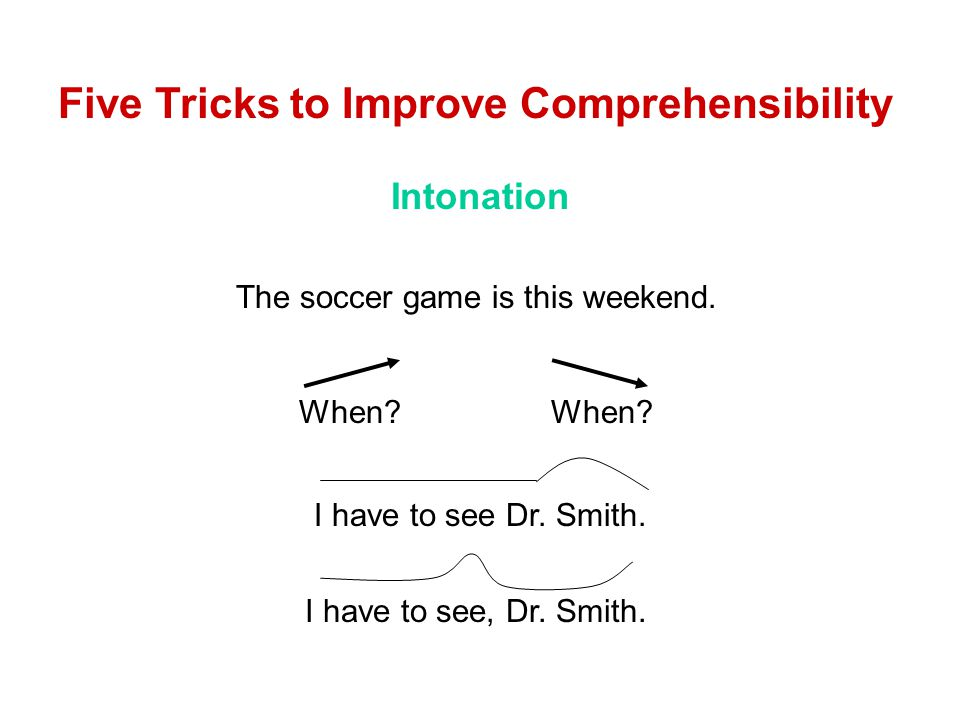 Intonation Five Tricks to Improve Comprehensibility The soccer game is this weekend.