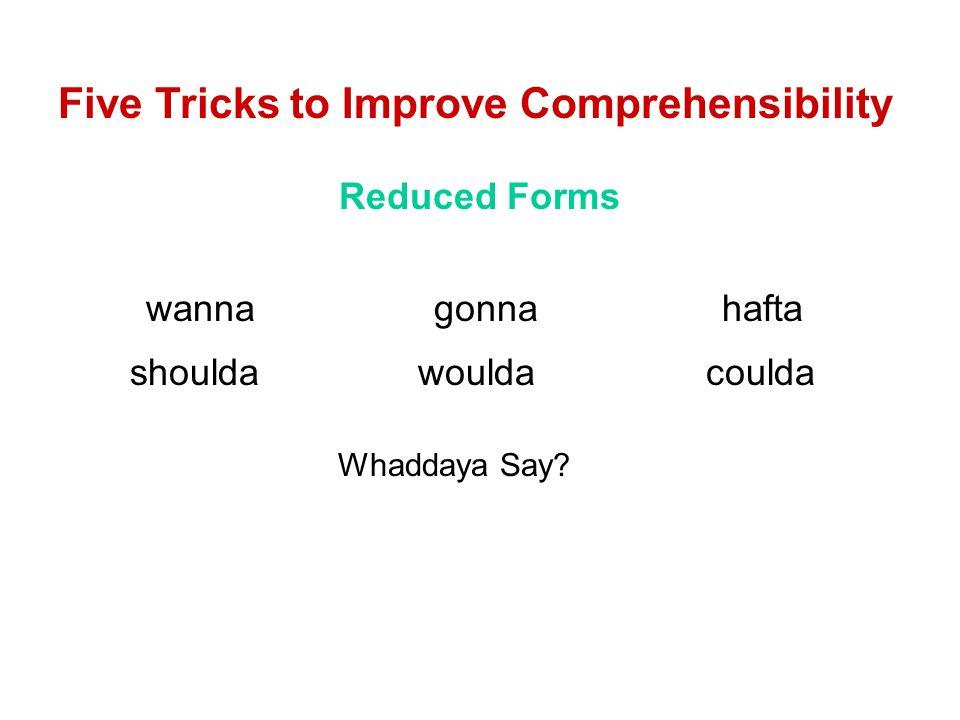 Five Tricks to Improve Comprehensibility Reduced Forms wannagonnahafta shouldawouldacoulda Whaddaya Say?