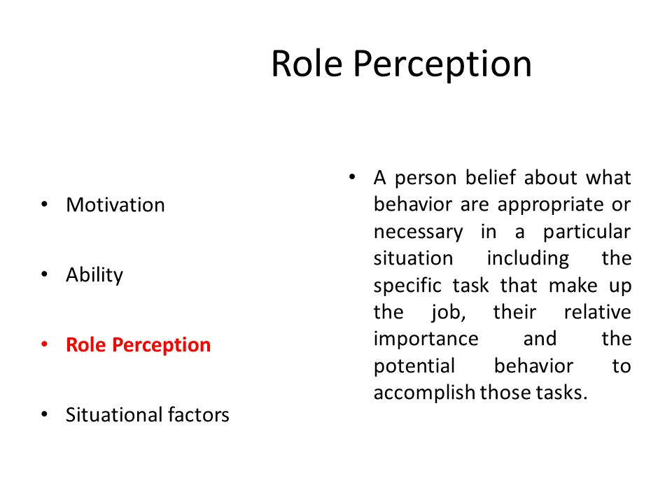 Situational Factors Motivation Ability Role Perception Situational factors Situational factors include those that are not in the immediate control of employee but that constrain and faccilitate his or her behavior and performence